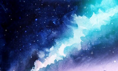 Naklejka Night. The infinite deep starry sky, the Milky Way. Northern Lights Pink and blue streams of light. Mystical boundless universe. Hand-drawn watercolor background illustration.