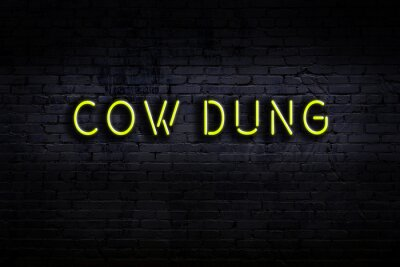 Naklejka Night view of neon sign on brick wall with inscription cow dung