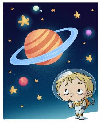 Naklejka nińo astronauta en el espacio