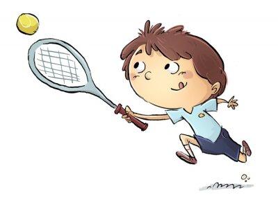 Naklejka Niño jugando tenis