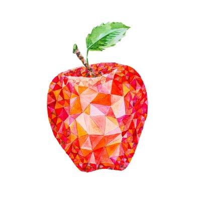 Naklejka Niska poli akwarela jabłko