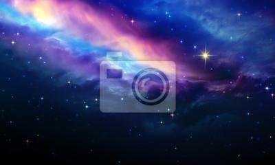Naklejka Nocne niebo z kolorowymi gwiazdami. Streszczenie tle nieba.