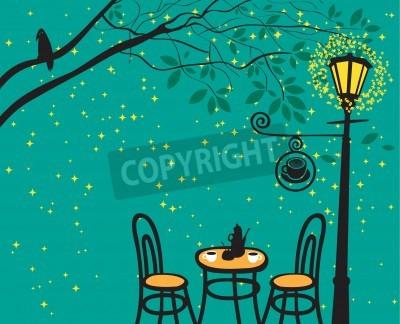 Naklejka Nocny krajobraz z kawiarni w nocy z latarni
