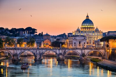 Naklejka Nocny widok z Bazyliki Świętego Piotra w Rzymie, Włochy