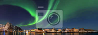 Naklejka Nordlicht w Norwegen Svolvaer Panorama