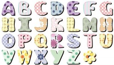 Naklejka notatnik alfabetu na białym tle