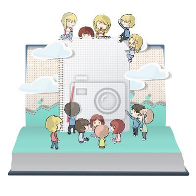 Notebook z kilkoma dziećmi drukowanych na otwartej księdze.