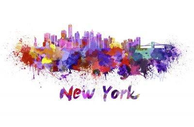 Naklejka Nowego Jorku w akwareli