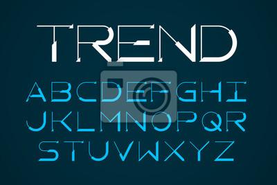 Nowoczesna cienka czcionka, modne litery alfabetu angielskiego
