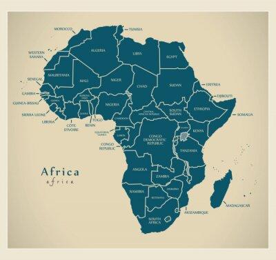 Naklejka Nowoczesna mapa Afryka - kontynent z etykietami kraju