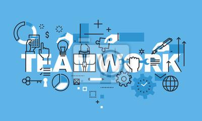 Nowoczesne cienka linia pojęcie projektowe dla strony TEAMWORK sztandarem. Koncepcja ilustracji wektorowych dla ludzi biznesu pracy zespołowej, zasobów ludzkich, możliwości rozwoju zawodowego, umiejęt