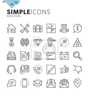 Nowoczesne cienkie linie podstawowe ikony sieci web. Wysokiej jakości zbiór symboli konturu do projektowania stron internetowych i graficznych, aplikacja mobilna. Mono piktogramy liniowe, infografiki