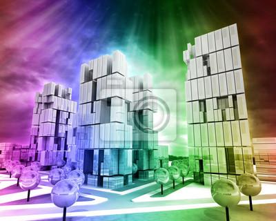 Nowoczesne miasto biznesu w kolorowym tle tęczy