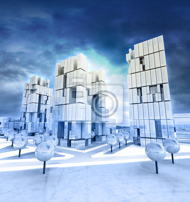 Nowoczesne miasto biznesu w pochmurne niebo po południu