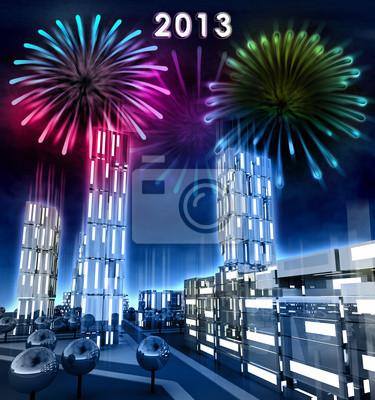 Nowoczesne miasto z wysiadł okien świętować nowy rok 2013