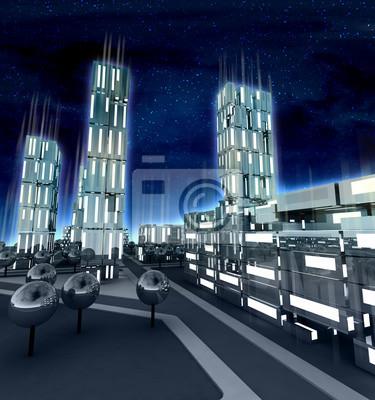 Nowoczesne miasto z wysiadł okna w przyszłości