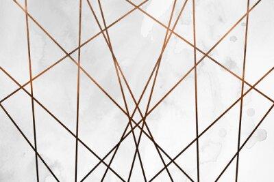 Naklejka Nowoczesne współczesne kremowe miedziane tło. Luksusowa dziewczęca tekstura. Pyszne i czyste tło z elementami geometrycznymi i artystycznymi.