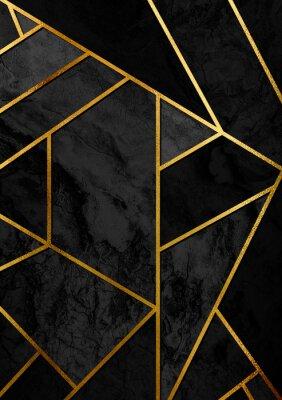 Naklejka Nowoczesny i stylowy plakat abstrakcyjny wzór z złote linie i czarny wzór geometryczny.