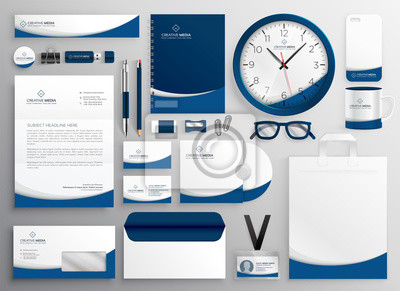 nowoczesny niebieski zestaw profesjonalnych papeterii biznesowych
