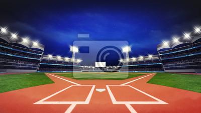 Nowoczesny stadion baseballowy pitch z fanami i trawa zielona
