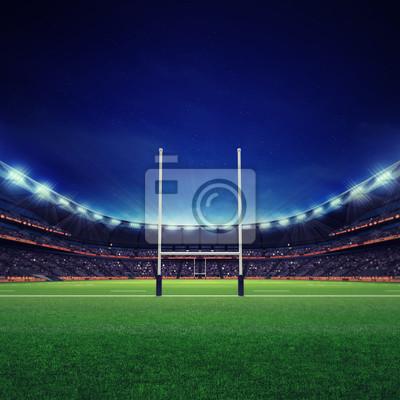 Nowoczesny stadion rugby z fanami i trawa zielona