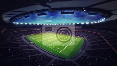 Nowoczesny stadion rugby z fanami pod dachem