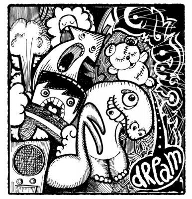 Naklejka Nowoczesny styl szkicowy obraz zły sen