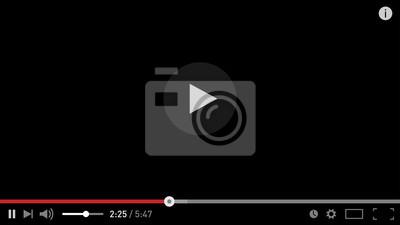 Naklejka Nowoczesny szablon projektu odtwarzacza wideo dla płaskich stylu aplikacji sieciowych i mobilnych. Ilustracji wektorowych