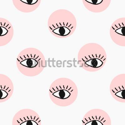 Naklejka Nowoczesny wzór z ręcznie rysowane oczy.