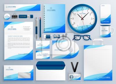nowoczesny zestaw szablonów biznesowych niebieski wektor piśmienne