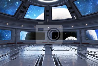 Naklejka Nowożytny futurystyczny statek kosmiczny wnętrza tło. 3d rendering