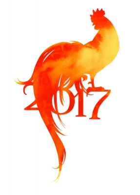 Nowy 2017 rok symbol koguta w ciepłych kolorach czerwonym.