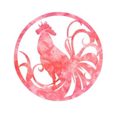 Nowy 2017 rok symbol koguta w okręgu. Pianie koguta o przewijanie ogon. Czerwona farba abstrakcyjne tekstury. ilustracji wektorowych. Horoskop chiński.