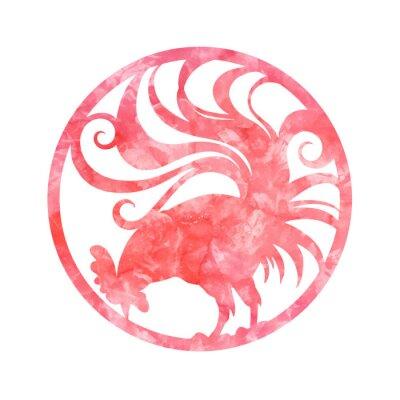 Nowy 2017 rok symbol koguta w okręgu. Rooster z przewijania ogon. Czerwona farba abstrakcyjne tekstury. ilustracji wektorowych. Horoskop chiński.