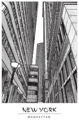 Naklejka Nowy Jork, Manhattan. Wąska ulica w centrum, pejzaż z słynne drapacze chmur. Ilustracja wektorowa w stylu Grawerowanie. Czarny rysunek odizolowywający na białym tle. Perspektywa widok w górę.