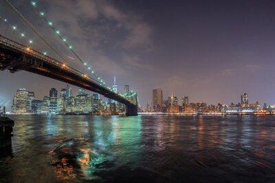 Naklejka Nowy Jork nocy z Brooklynu