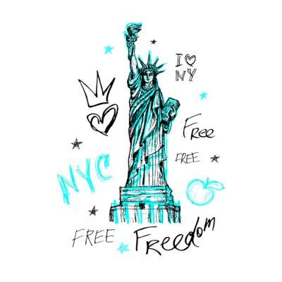 Naklejka Nowy Jork, projekt koszulki, plakat, druk, napis Statua Wolności, mapa, grafika koszulki, modny, suchy pędzel, marker, kolorowy długopis, atrament, akwarela. Ręcznie rysowane ilustracji wektorowych.