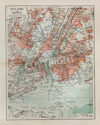 Naklejka Nowy Jork stara mapa z końca 19 wieku
