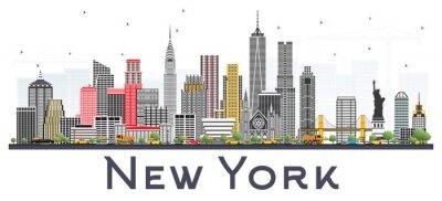 Naklejka Nowy Jork Usa linia horyzontu z szarymi drapaczami chmur Odizolowywającymi na Białym tle.