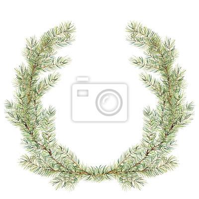 Nowy rok wieniec gałęzi drzewa do projektowania, drukowania lub tła