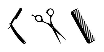 Naklejka Nożyczki, nóż do golenia, grzebień na białym