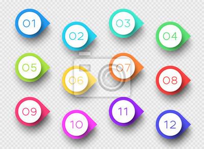 Naklejka Number Bullet Point Kolorowe znaczniki 3d 1 do 12 Vector