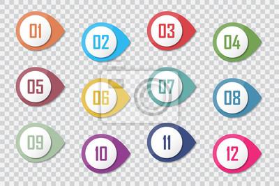 Naklejka Numer punktor punktowy kolorowy 3d markerów 1 do 12 wektor