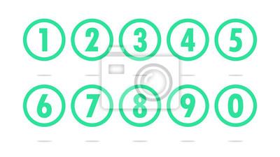 Naklejka Numery w przezroczystym kręgu ikonę wektora