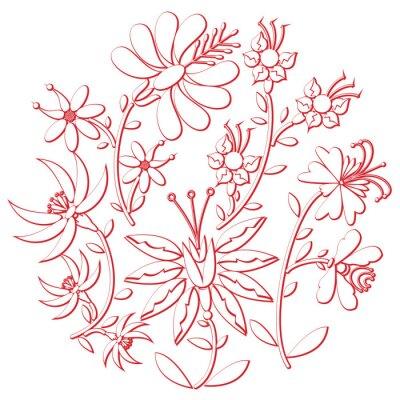 Naklejka Obchody dni ludowej wycinanki i hafty inspirowane wschodniej kultury europejskiej okrągłym kształcie w kolorze białym z kwiatowymi elementami z czerwonej skoku z efektem 3D
