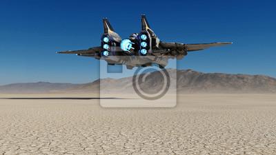 Naklejka Obcy statek kosmiczny lata nad opustoszałą planetą z niebieskim niebem w tle, fantastyka naukowa scena, 3D rendering