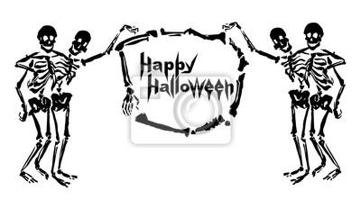Obejmując szkielety trzymają ramę wykonaną z kości z napisem Happy Halloween. Pojedynczo na białym tle. Może być stosowany jako kartkę z życzeniami lub zaproszenia.
