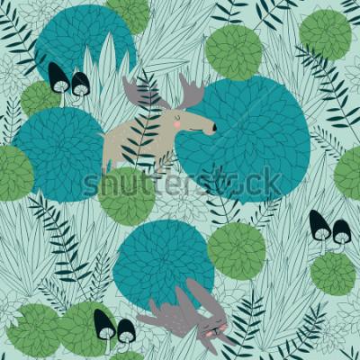 Naklejka Obejmuje lasowe tło z ślicznymi lasowymi roślinami, łosoś, zając i pieczarkami w kreskówce, projektujemy.