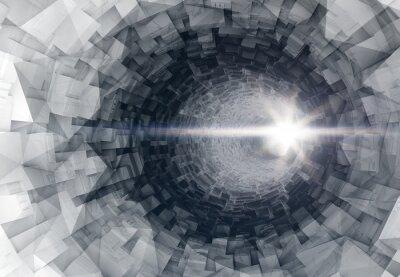 Naklejka Obracanie 3D cyfrowy tunelu wnętrze ze świecącymi końca