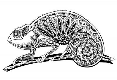 Naklejka obraz czarno-biały kameleon jaszczurka w stylu tatuażu
